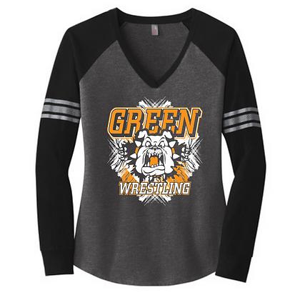 Green Wrestling Logo #9 Long Sleeve V-Neck