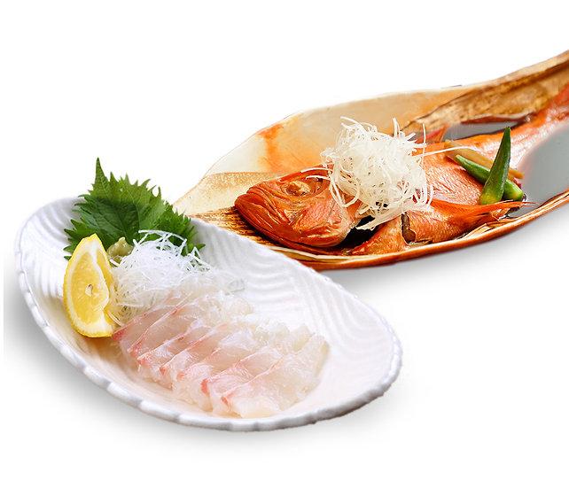 お得な鯛セット! 真鯛フィレx金目鯛煮つけ    Seabream x Golden eye Snapper Special combo