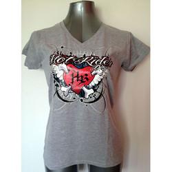 Tee-shirt gris Heart red