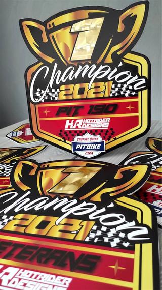 Plaques trophées Champion pit bike