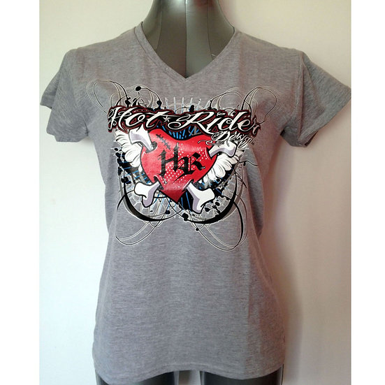Tee-shirt gris HR Heart red