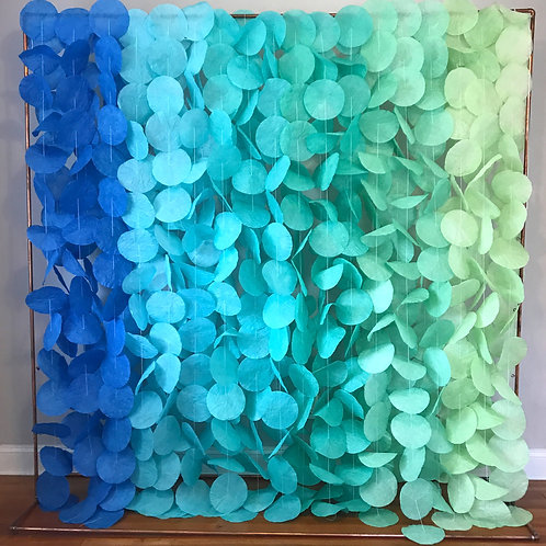 Paper Circle Garland: Blue and Green Rainbow Ombré