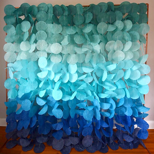 Paper Circle Garland: Green to Blue Ombre
