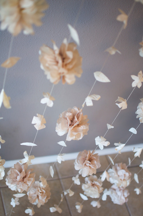 Puff and paper flower garland this is gorgeous display features a combination of the anthropologie inspired paper flower garland and the tissue paper puff garland mightylinksfo