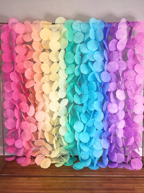 Paper Circle Garland: Pastel Rainbow