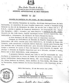 Documento de criação da Paróquia São Tiago Maior