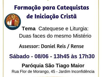 Convite: Participe da Formação para Catequistas de Iniciação Cristã que ocorrerá no dia 08.06.2019 e