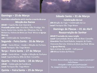ATENÇÃO: A Missa neste Domingo de Ramos, pela manhã, será após a Procissão que se inicia às 6h30.