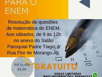 Paróquia terá atendimento preparatório em Matemática para o ENEM 2019
