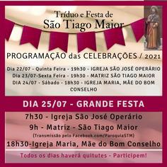 Tríduo e Festa de São Tiago Maior - Veja a Programação