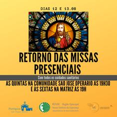 Missas presenciais durante a semana retornam na Matriz e São José Operário.