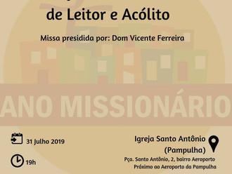 Instituição do Ministério de Leitor e Acólito. Acelino P. Araújo será um dos instituídos.