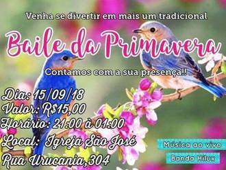 Neste sábado tem Baile da Primavera, ingressos  estarão  à venda no local; quadra da Capela São José