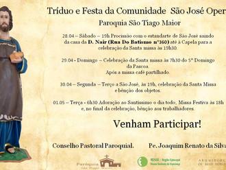 Veja a programação do Tríduo e Festa da Comunidade São José Operário.