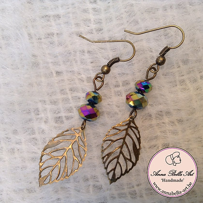 Anna Oorbel Zwart Regenboogkristal Bronzen Blad