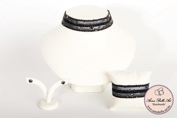 Armband Bella Nina - Fijne ketting-leder-Swarovski -donker grijs-zilver