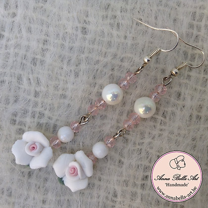 Anna Oorbel Wit Roze - porselein bloem-kristalparel-glasparel-zilver