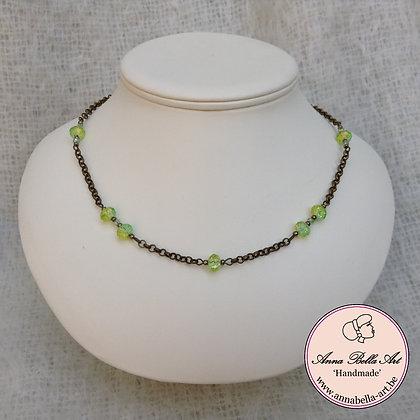 Anna Halsketting Groen - kristalparel-brons