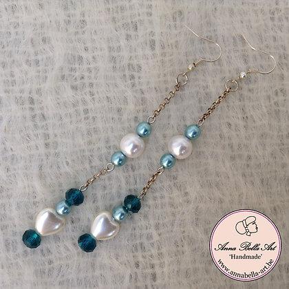 Anna Oorbel Wit Blauw turquoise - parelmoer-Swarovski glasparel