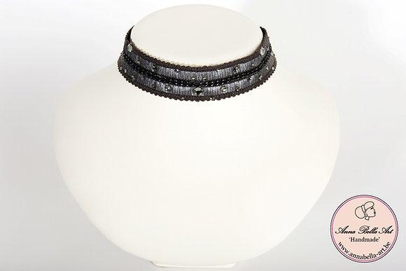 Choker Bella Nina - Fijne ketting-leder-Swarovski-donker grijs-zilver