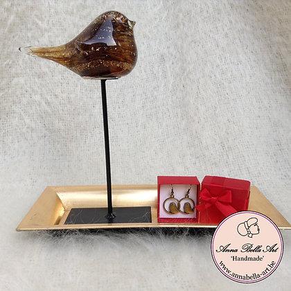 Art Line geschenk - mondgeblazen vogel-vogeloorbellen-gouden schaal