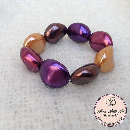 Anna Kei Armband parelmoer - oker-bruin-paars-bordeaux
