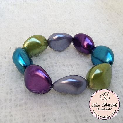 Anna Kei Armband parelmoer - grijs-olijfgroen-blauw tourquoise -paars