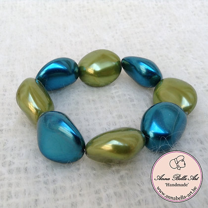 Anna Kei Armband parelmoer - olijfgroen-turquoise blauw