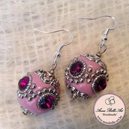 Anna Oorbel Roze Indonesisch Kristalfuchsia Zilver