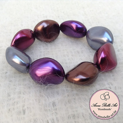 Anna Kei Armband parelmoer - bordeaux-bruin-paars-grijs