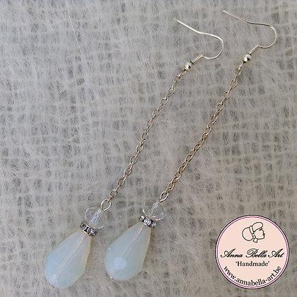 Anna Bella Oorbel Wit transparant - glasparel-kristalparel-Swarovski-zilver