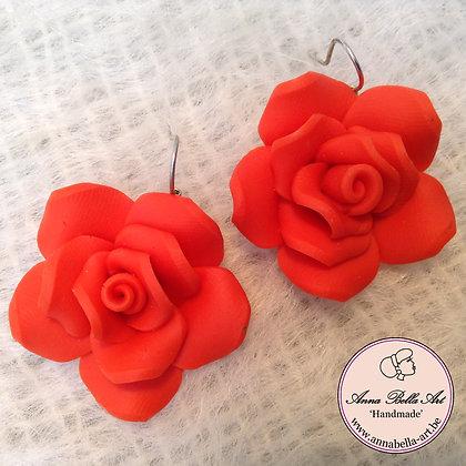 Anna Oorbel Oranje-Rood Fimo-bloem Zilver