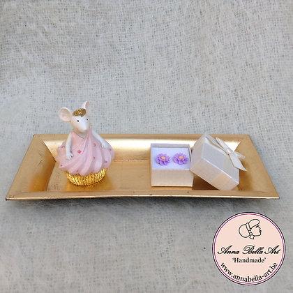 Geschenk Little Anna - cupcacke muis-oorbellen-gouden schaal