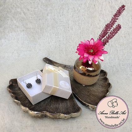 Art Line geschenk - denappel oorbellen-schaaltje ginkgo blad-vaasje met bloemen