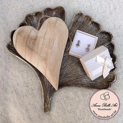 Art Line geschenk - oorbellen-schaaltje ginkgo blad-houten hart