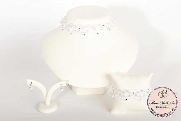 Armband Bella Evita - Witte kant-Swarovski-parelmoerparel
