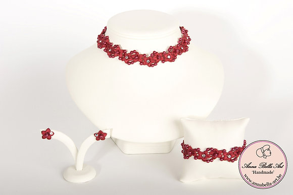 Armband Bella Anna - Rode bloemenkant-Swarovski-Parelmoerparel