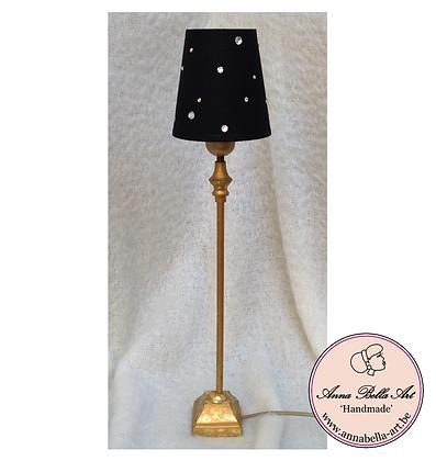 Tafellamp Zwart-Goud met Swarovski