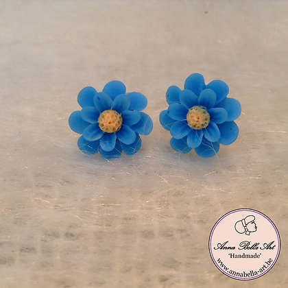 Little Anna Oorbel Blauw Chrysant Bloem