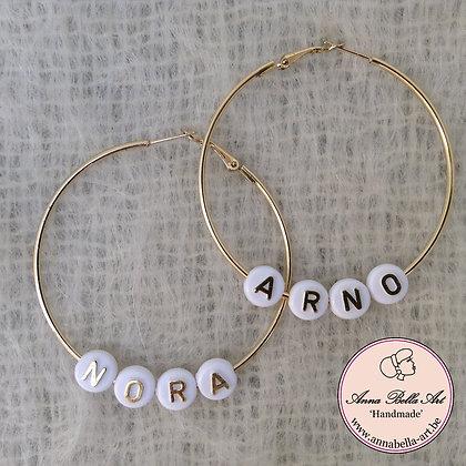 Gepersonaliseerde oorbellen - goudkleurige ringen 6cm