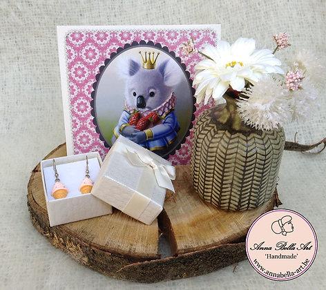 Art Line geschenk - houten schijf-oorbellen-franse kaart-vaas met zijde bleomen
