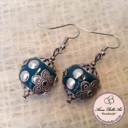Anna Oorbel Turquoise Indonesisch Donker Zilver