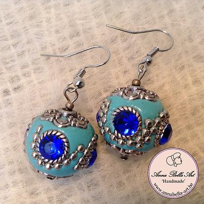 Anna Oorbel Turquoise Indonesisch Kristalblauw Zilver