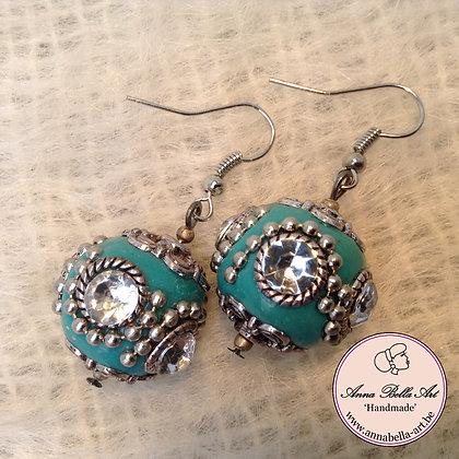 Anna Oorbel Turquoise Indonesisch Kristalhelder Zilver