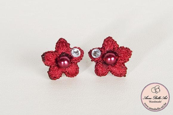 Oorbellen Bella Anna - Rode bloemenkant-Swarovski-parelmoerparel