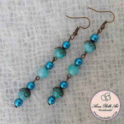 Anna Oorbel Turquoise - edelsteen-parelmoer-brons