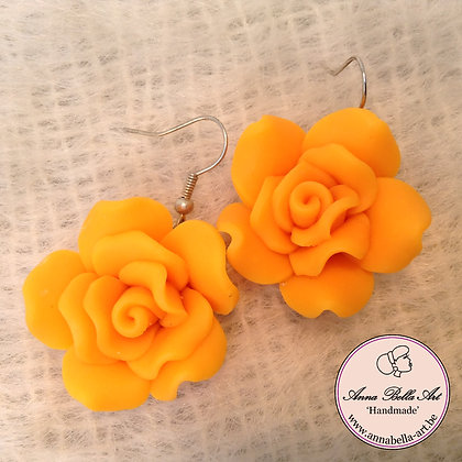 Anna Oorbel Oranje Fimo-bloem Zilver