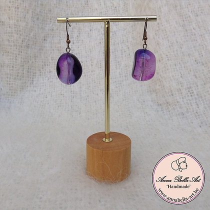Kei Oorbel transparent paars/blauw (g)