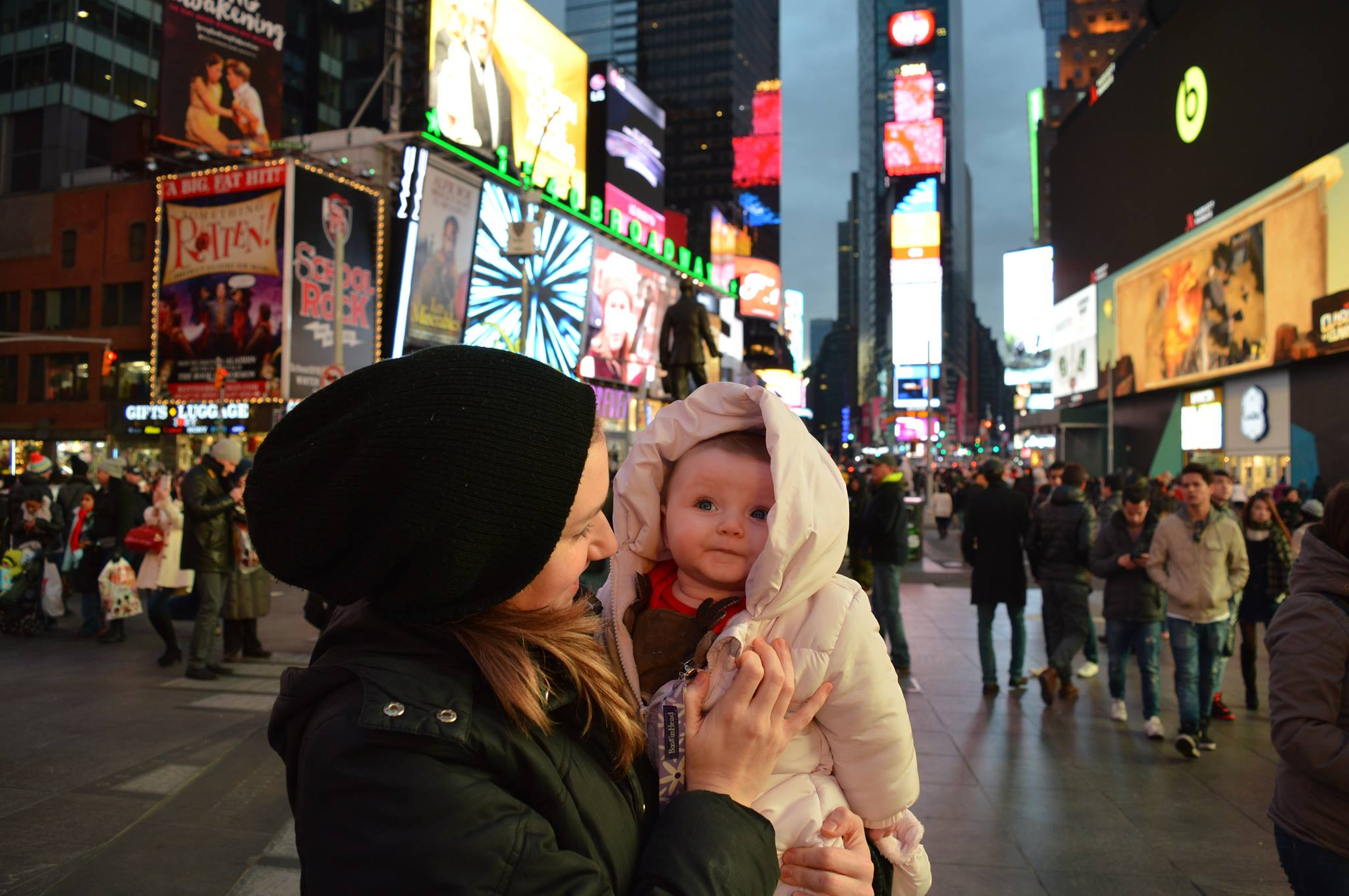 Erin and Isla, Times Square 2015