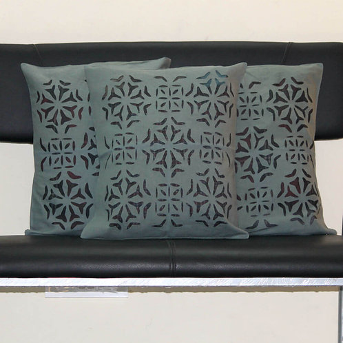 Grey Colour Cutwork Design Cushion Covers (Set Of 3)